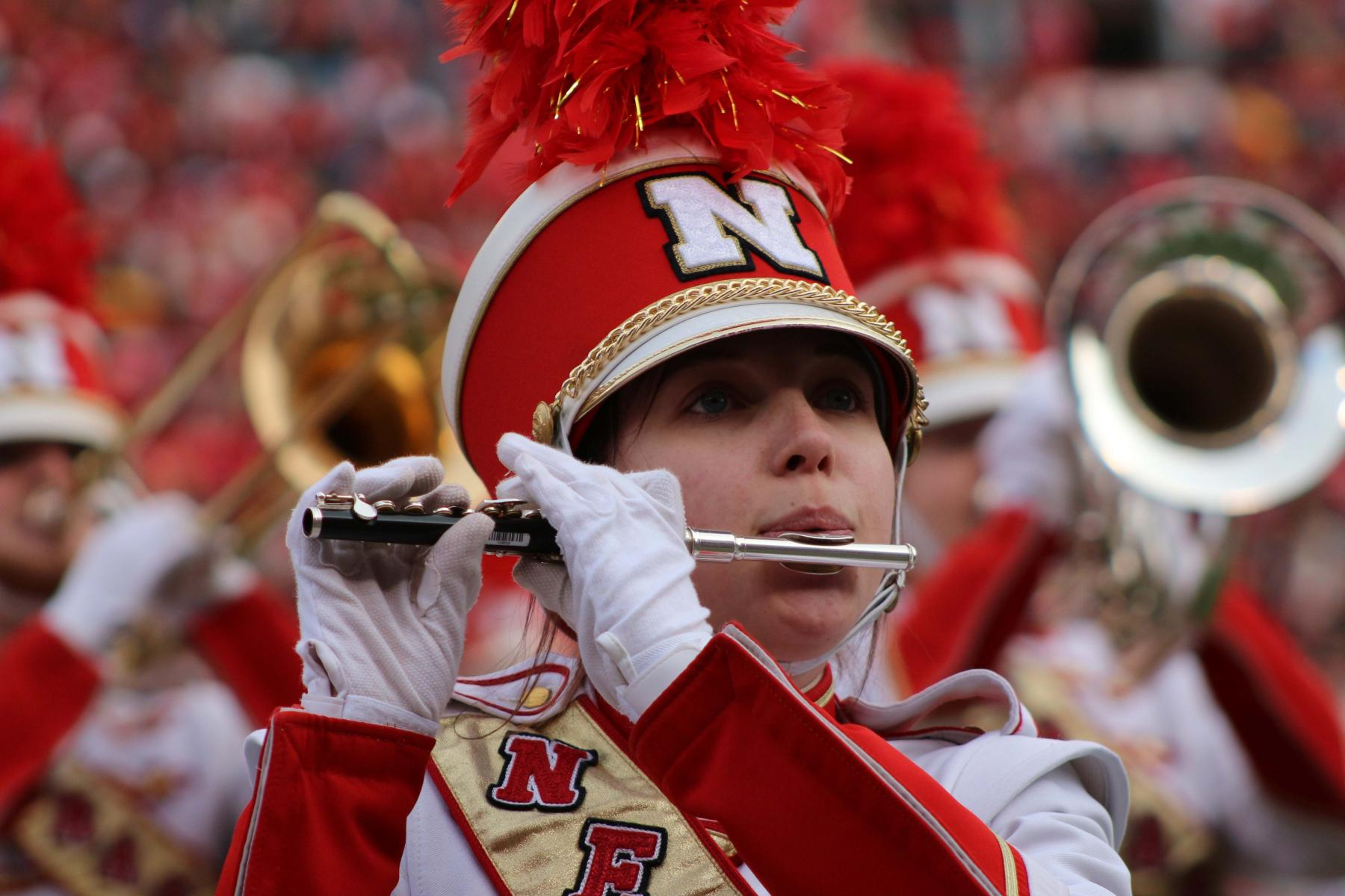 af916709a A Cornhusker Marching Band piccolo player.