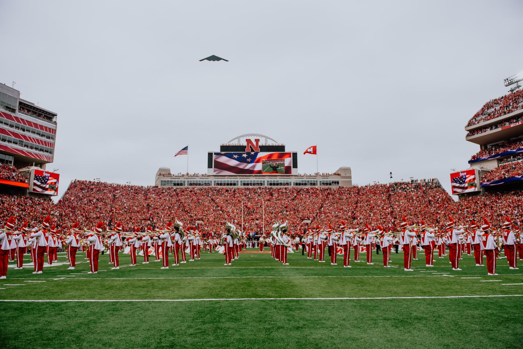 Photo of military flyover at Memorial Stadium