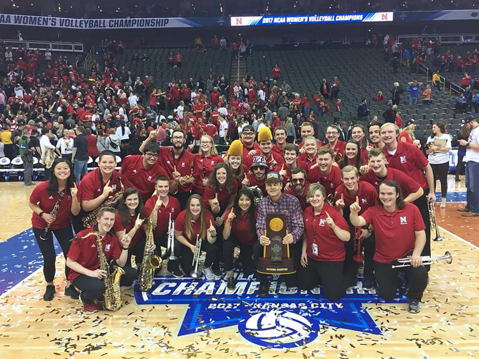 Photo of the Big Red Express pep band at the 2017 NCAA Volleyball Championships.