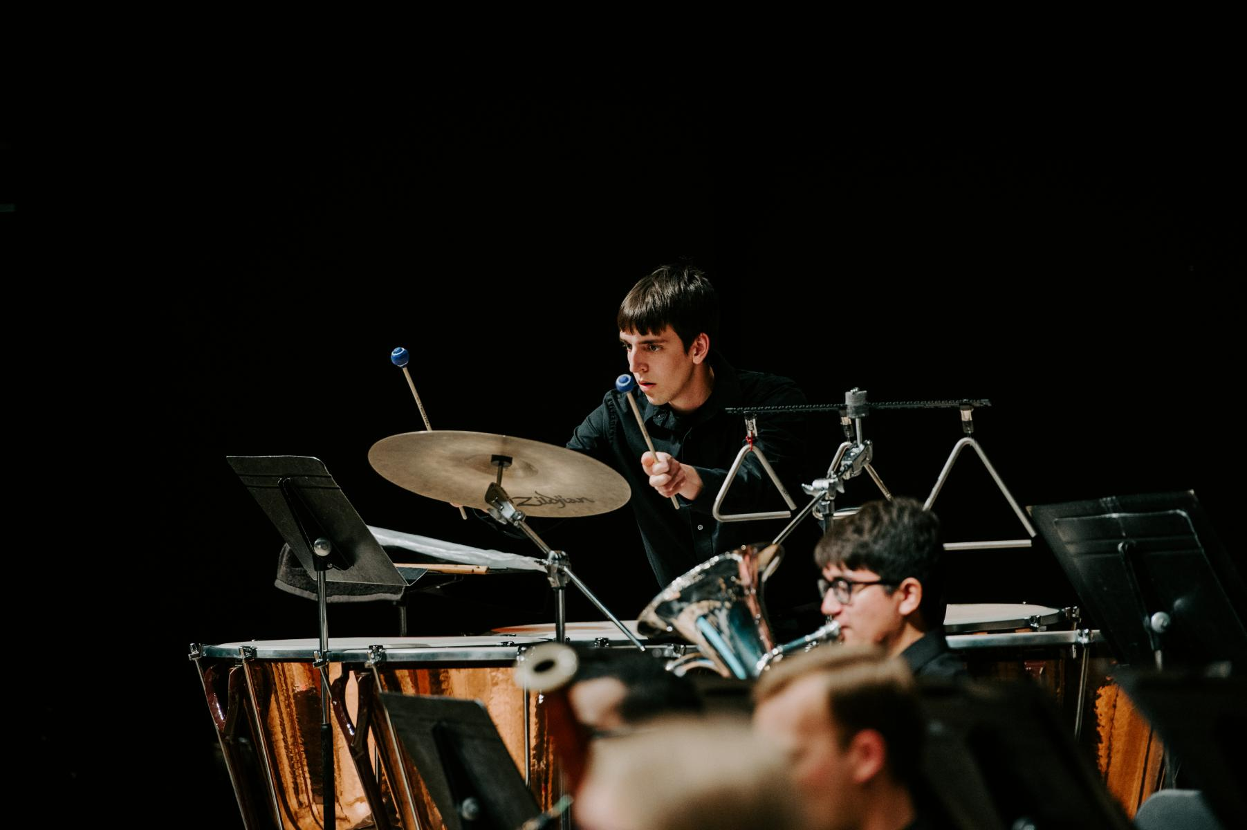 Photo of Wind Ensemble percussion player.