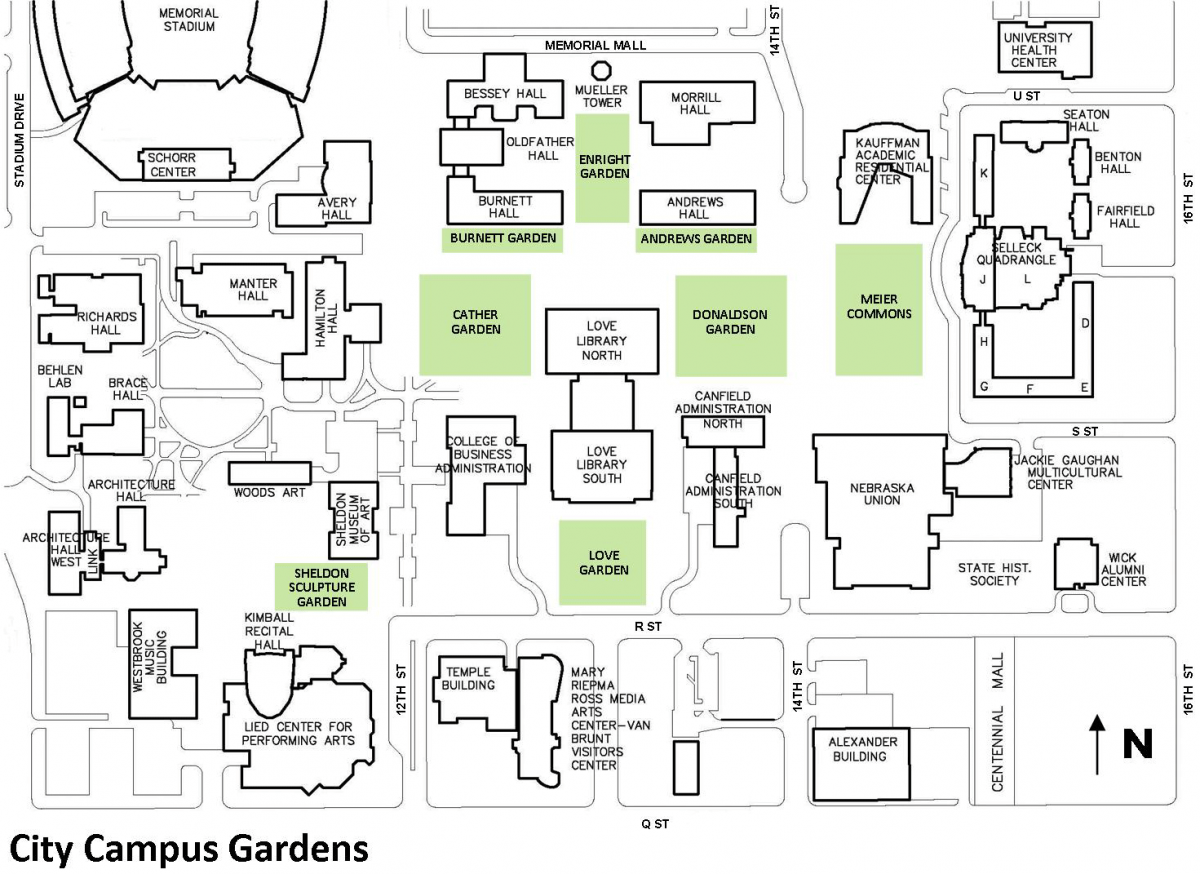 map of city campus gardens