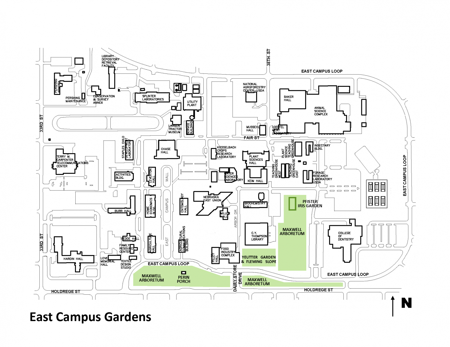 map of east campus gardens