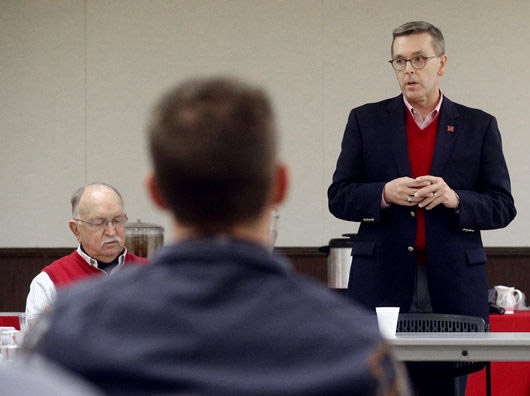 Ronnie Green, chancellor at the University of Nebraska-Lincoln, talks during a community gathering Wednesday at the Hamilton County Fairgrounds in Aurora.