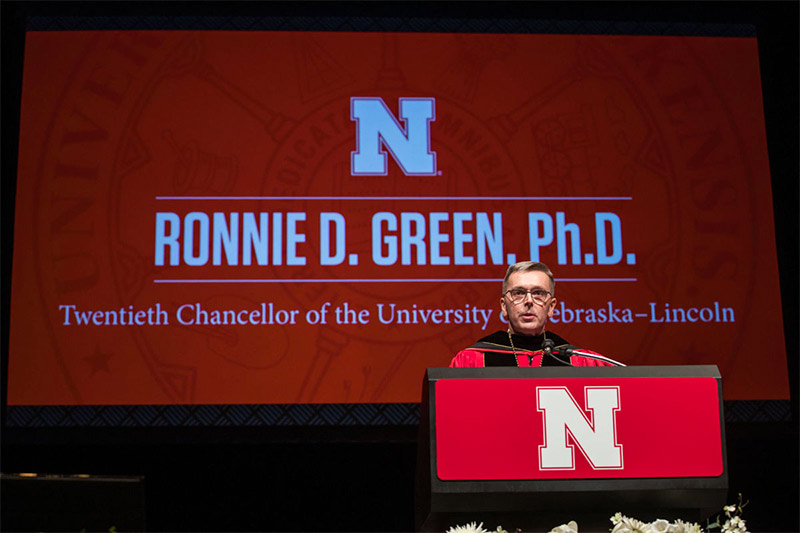 Chancellor Ronnie Green speaks at installation