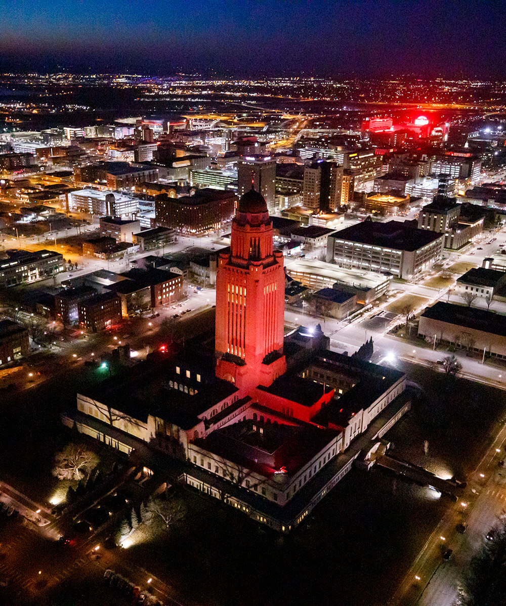 Capitol building and downtown Lincoln at night