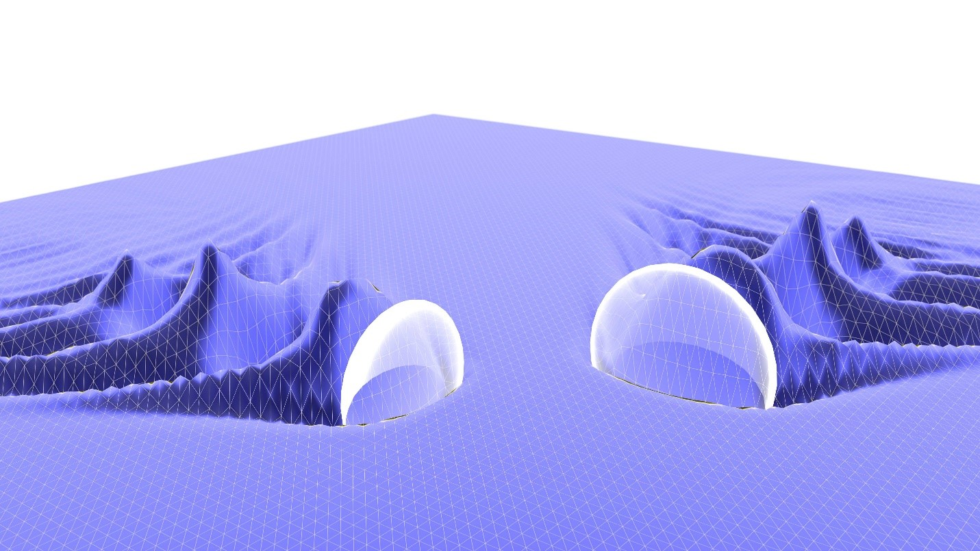 Artists impression of two colliding laser-driven plasma wakefields