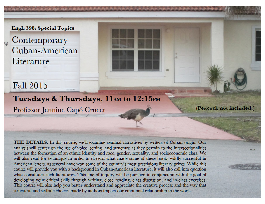 Course poster for ENGL 398 - Cuban-American Literature, Fall 2015