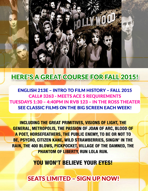 Course poster for English 213E - Introduction to Film History, Fall 2015