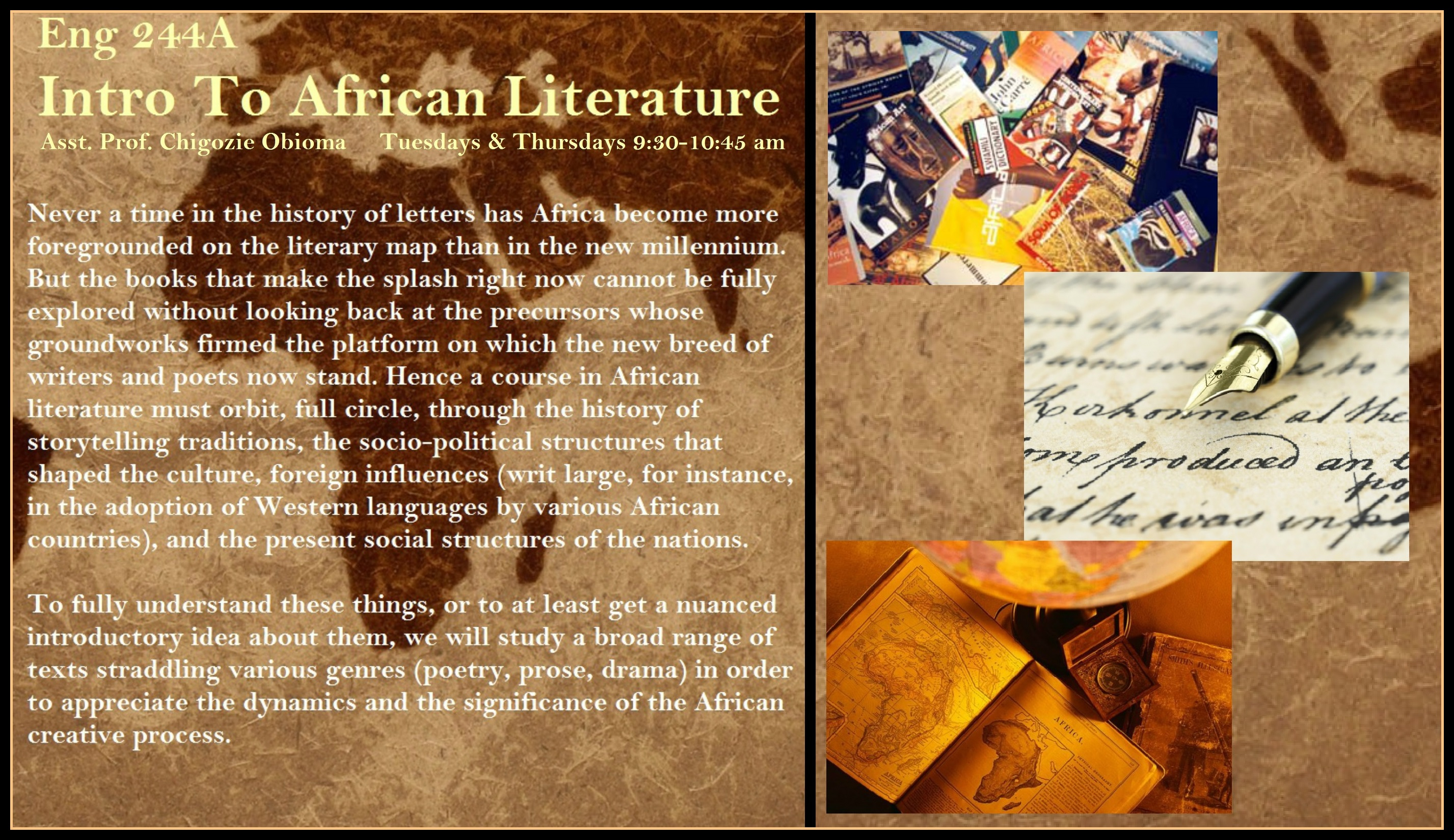 Course poster for ENGL 252 - Intro to Fiction Writing, Fall 2015