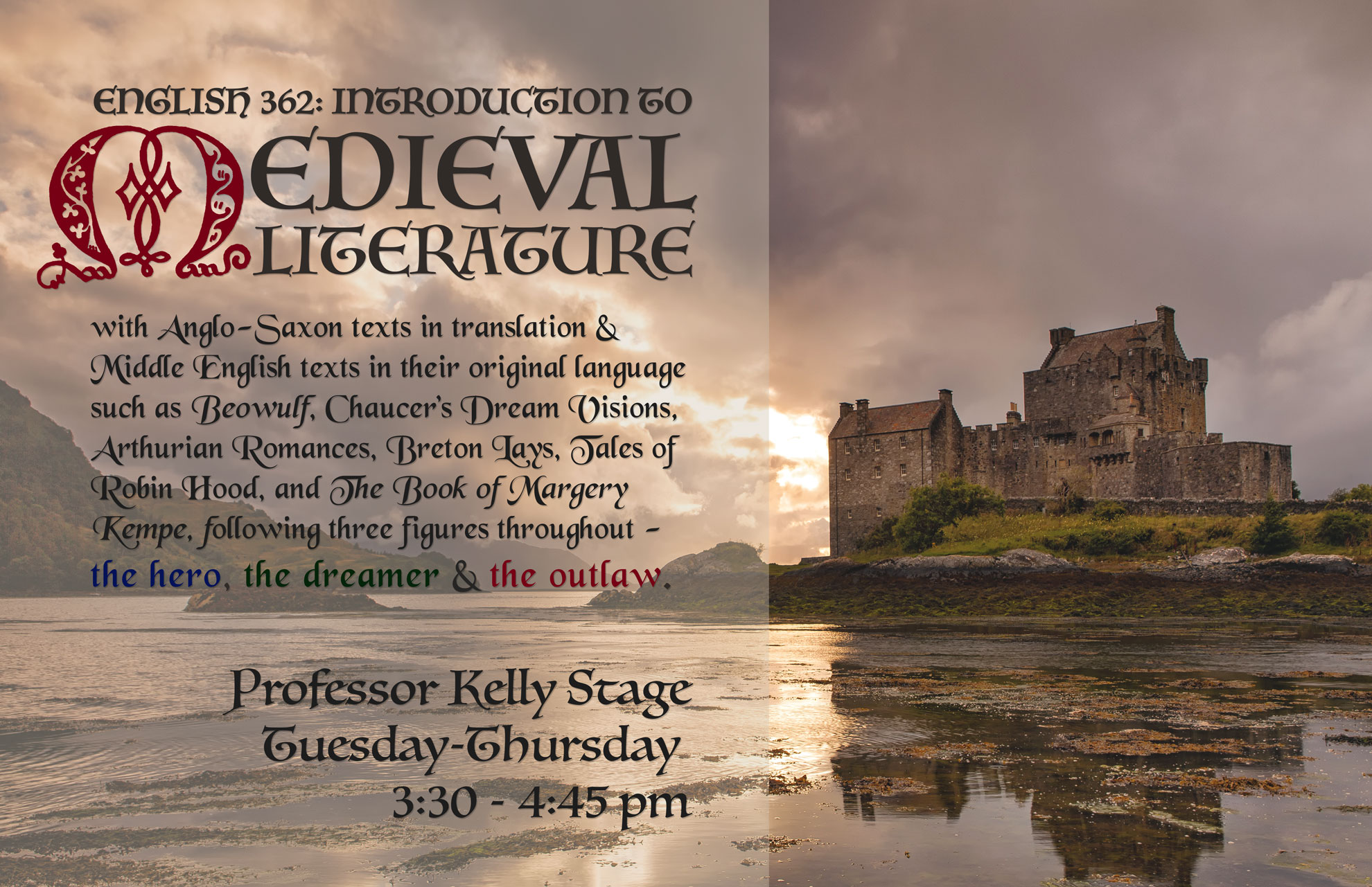 Course poster for Intro to Medieval Lit, Fall 2015, Professor Kelly Stage