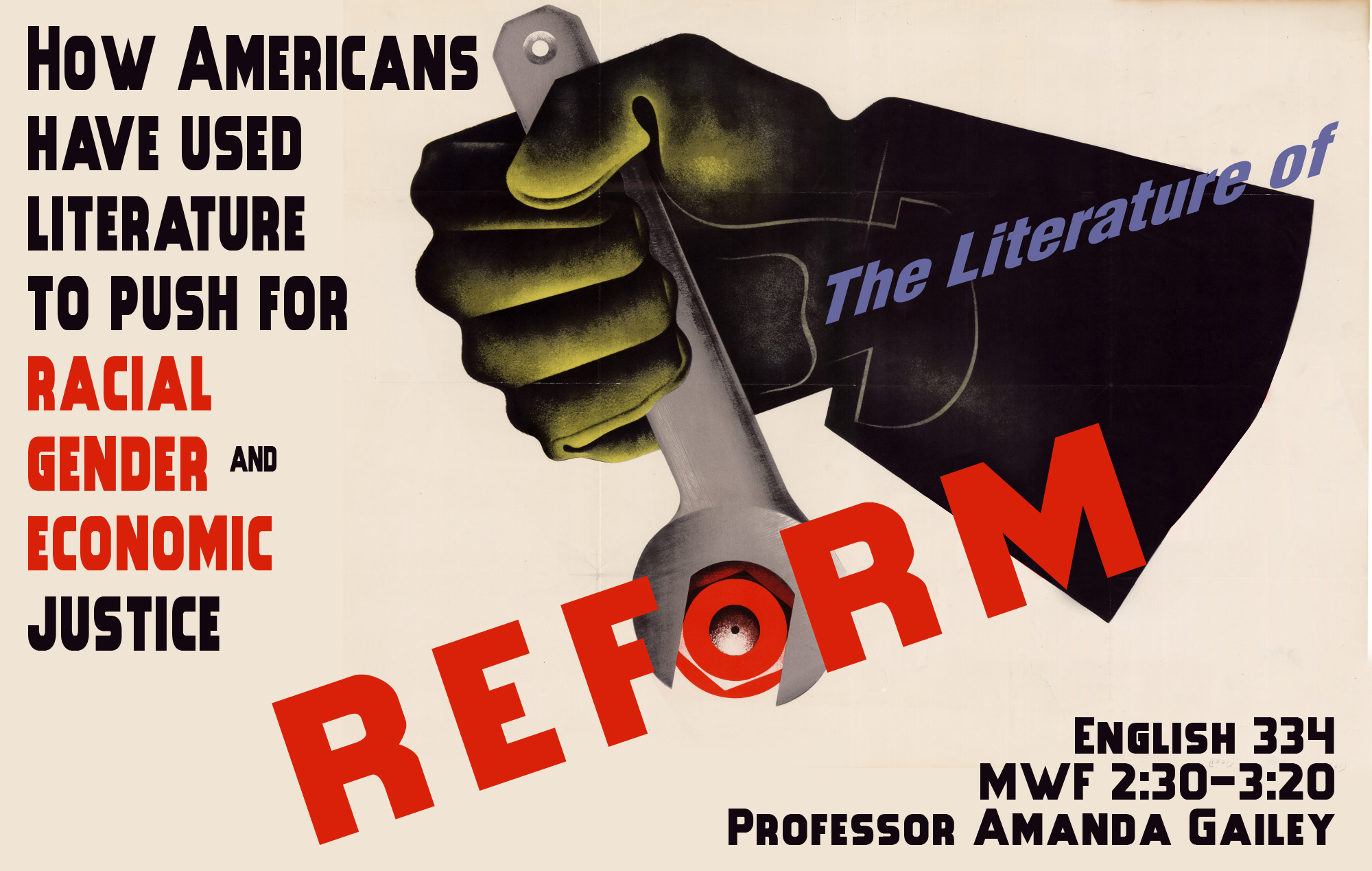Course poster for Literature of Reform, Professor Amanda Gailey, Fall 2015