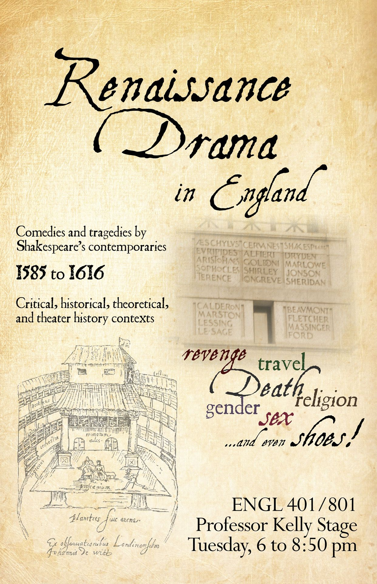 Poster for Renaissance Drama in England, Fall 2015, Professor Kelly Stage