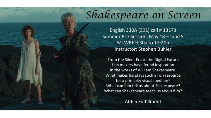 Course poster for ENGL 330 - Shakespeare on Screen, Summer 2015