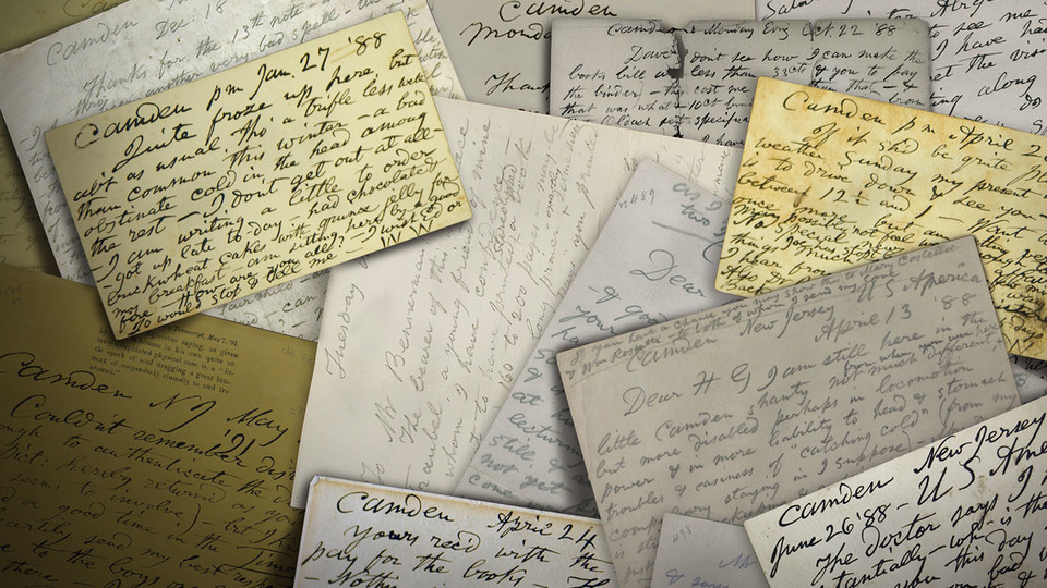 Handwritten letters; links to news story Whitman Archive continues publishing literary giant's letters