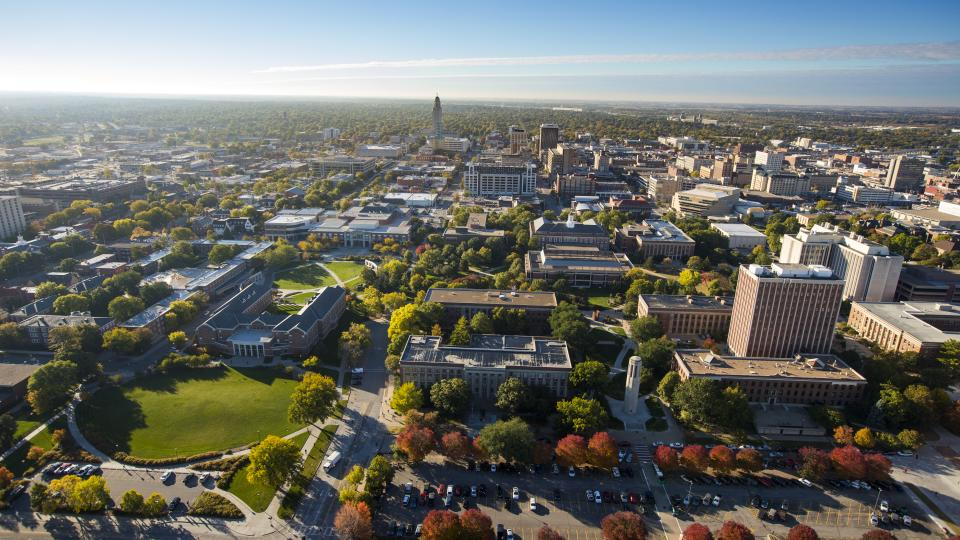 Aerial photo of city campus.; links to news story Brooke, Jockers, Vegso awarded professorships