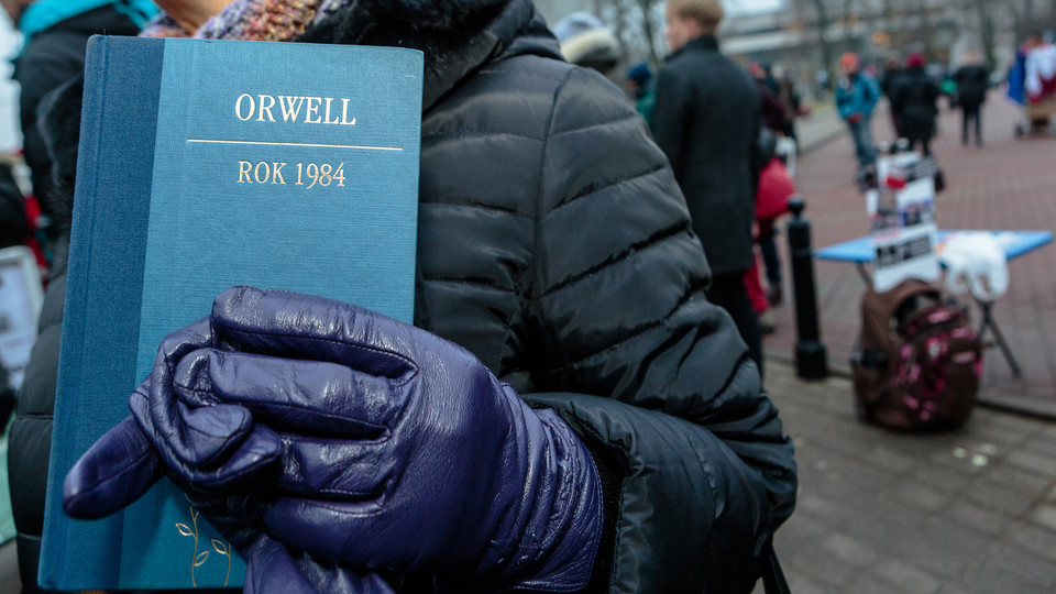Orwell's novel at a recent protest; links to news story Freshman honors course to feature Orwell's '1984'