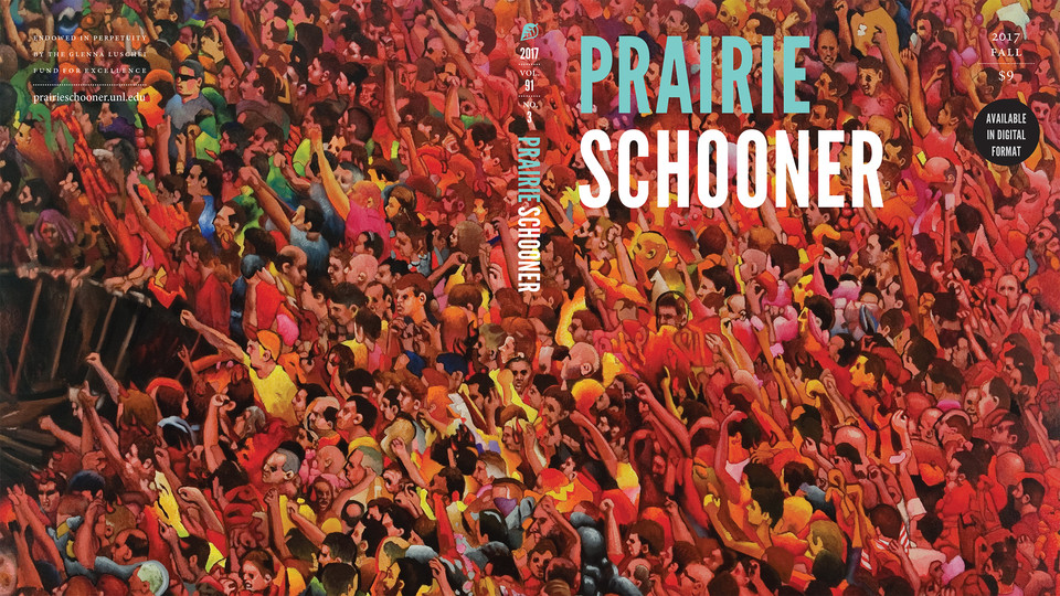 Fall 2017 cover of Prairie Schooner with red leaves; links to news story Lincoln artist among those featured in new Prairie Schooner