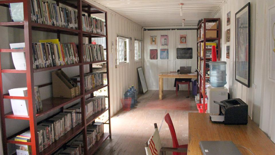 Ugandan Poetry Library interior; links to news story Collaboration establishes 5 poetry libraries in Africa