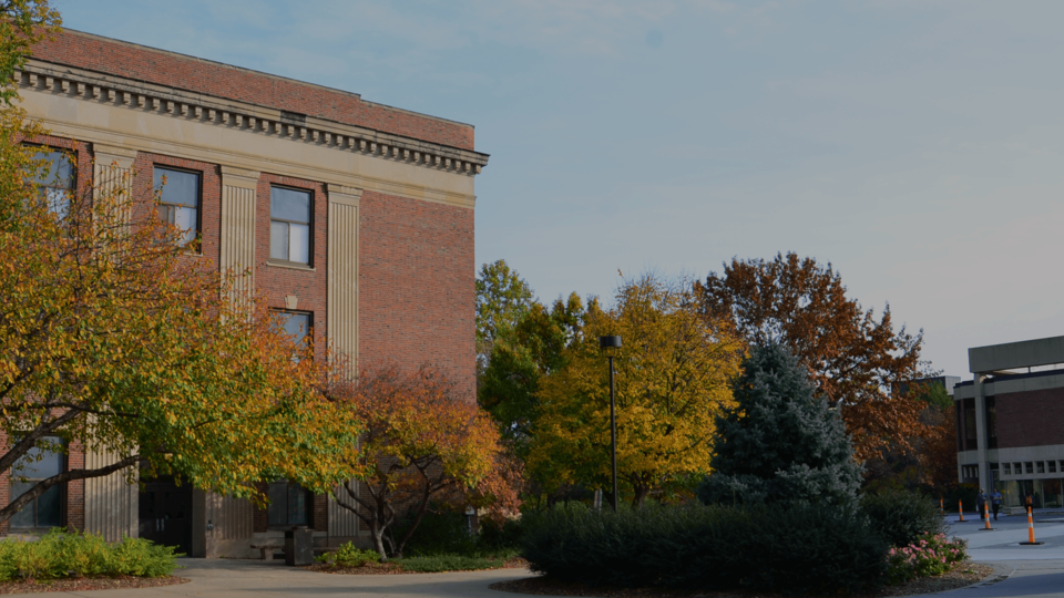 Image of Andrews Hall in autumn. Photo credit - Erin Chambers; links to news story Digital incubator fellows to discuss projects Sept. 20