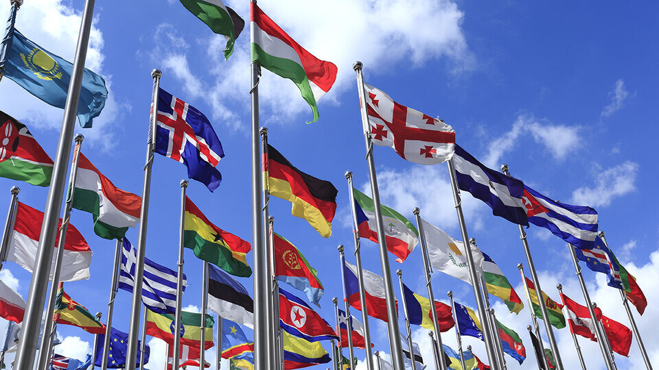 International flags; links to news story