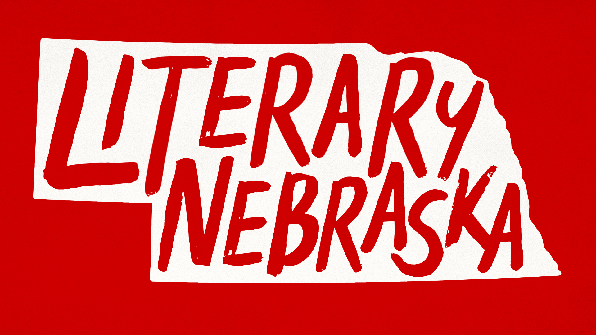 Literary Nebraska logo - handwritten text inside state silhouette; links to news story