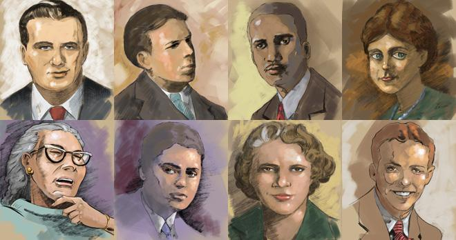 "Watercolor portraits of authors featured in Lost Writers of the Plains; links to news story NET Radio releases ""Lost Writers of the Plains"" March 6"