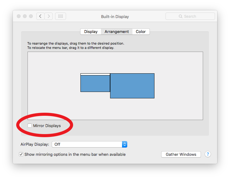 Mac screenshot showing the Arrangement tab in the Built-in Display options