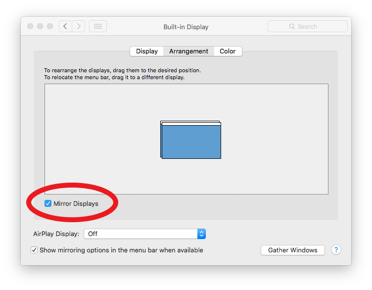 Mac screenshot showing the display settings with the Mirror Displays option checked