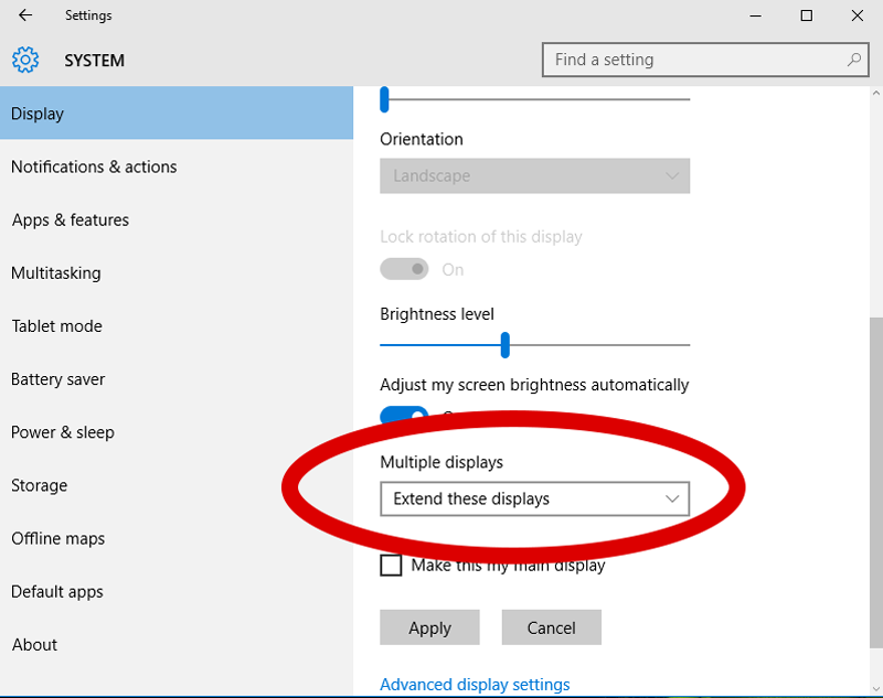 Windows 10 screenshot showing the location of the Multiple Displays dropdown menu