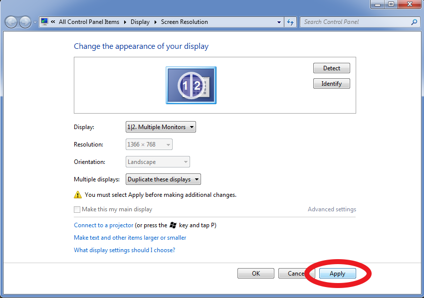 Windows 7 screenshot showing the location of the Apply button