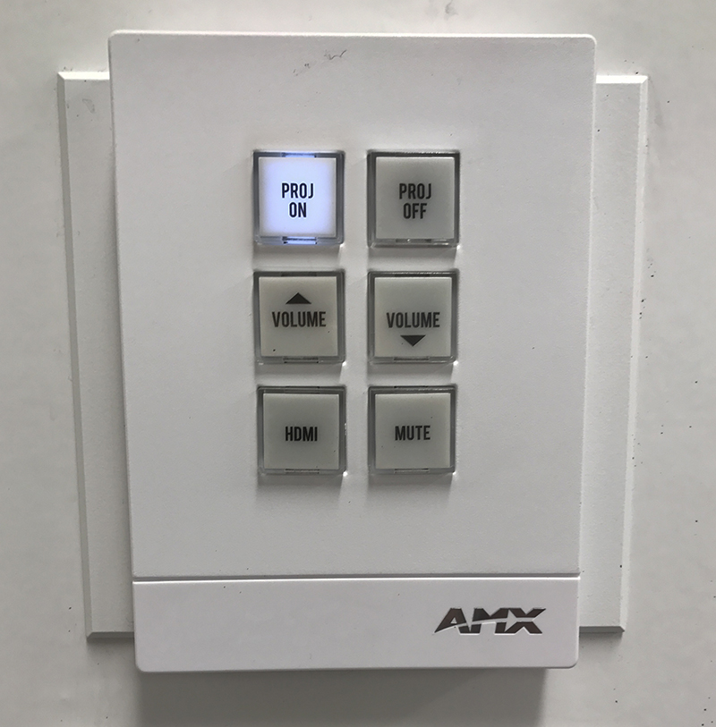AMX remote panel with ON button lit