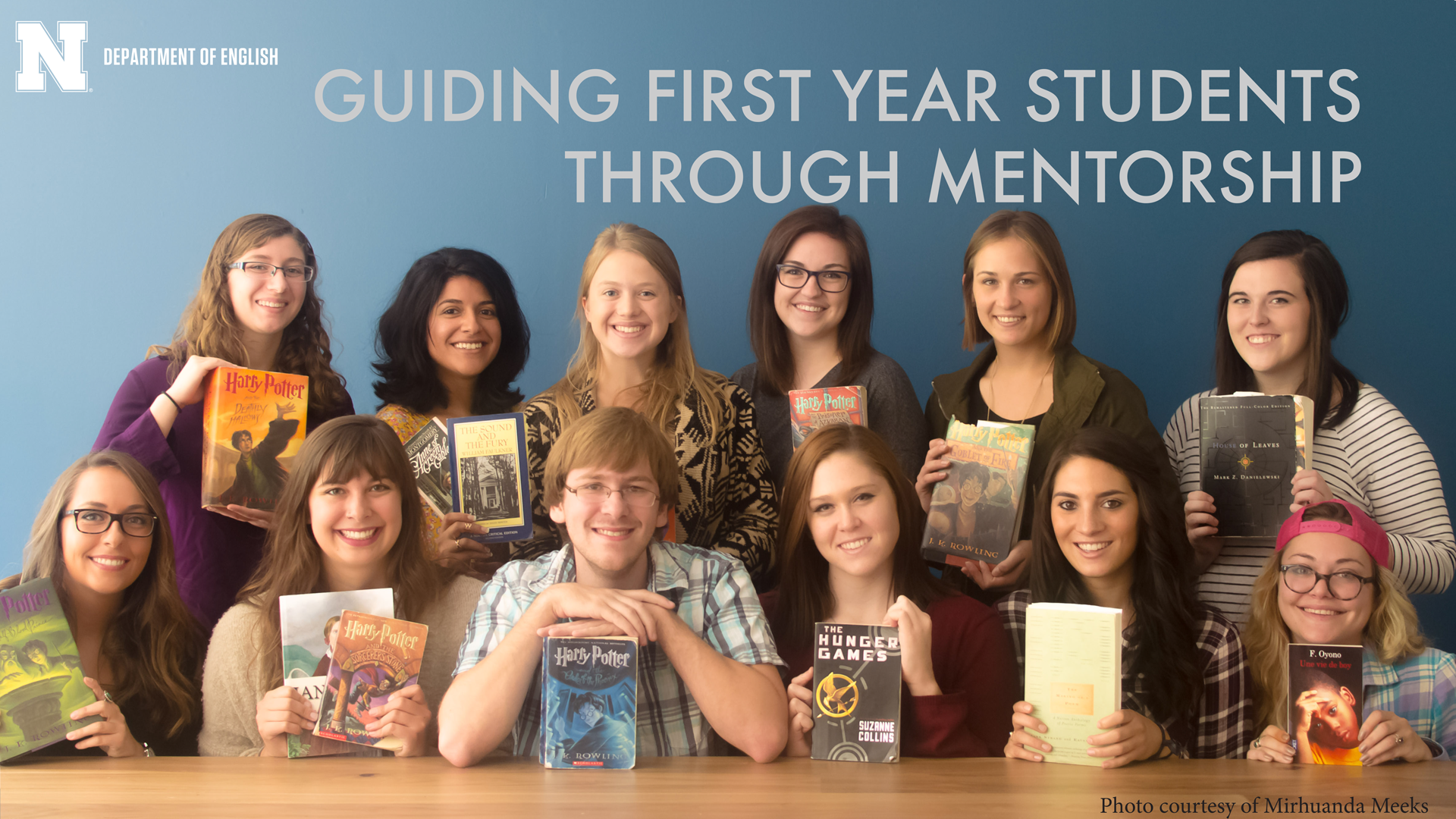 English Student Advisory Board members holding their favorite books. Photo courtesy of Mirhuanda Meeks