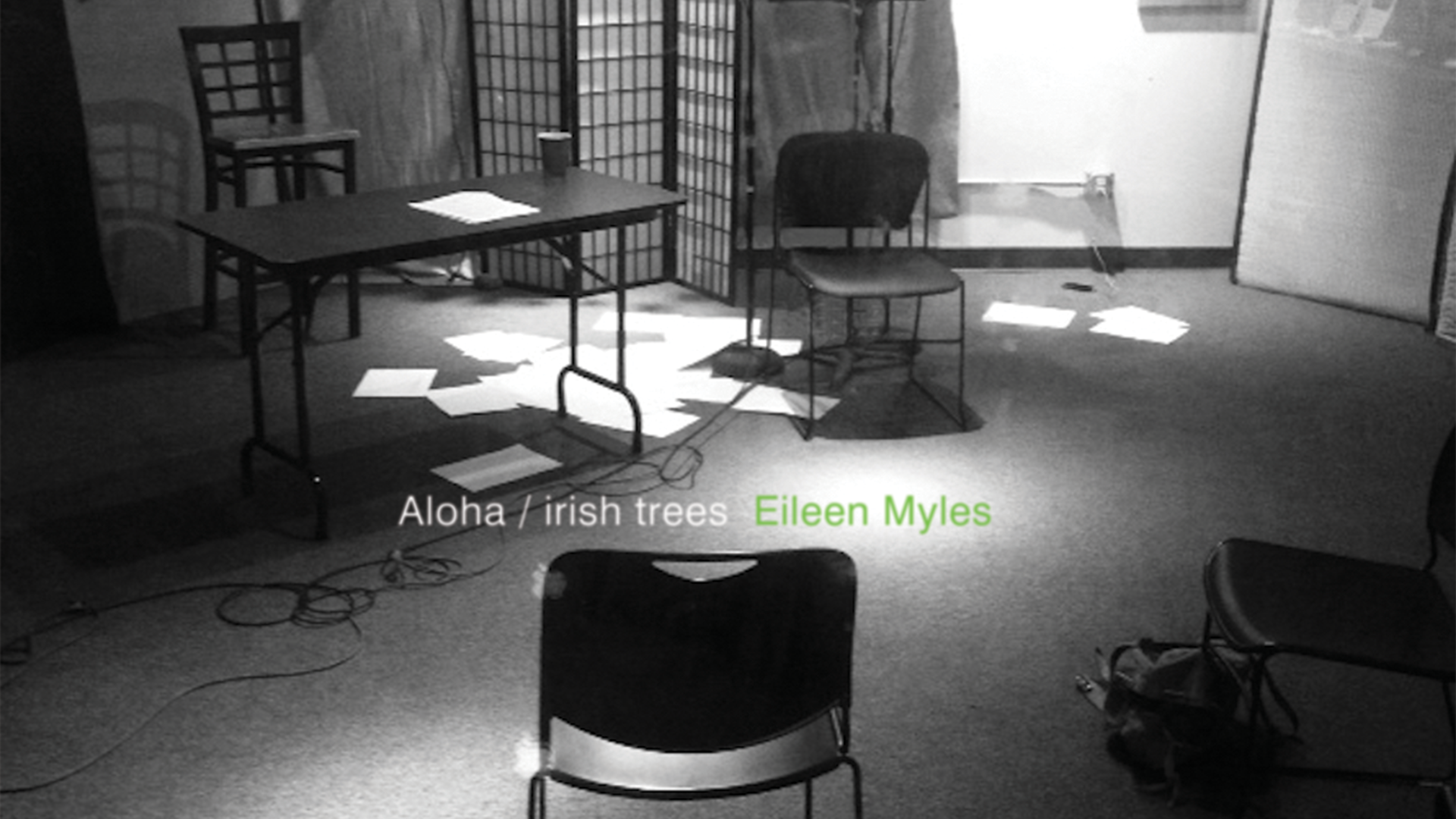 Album cover of Eileen Myles' ALOHA/IRISH TREES; links to news story Wax Poetic: How Fonograf Editions Is Bringing Poetry Back to Vinyl