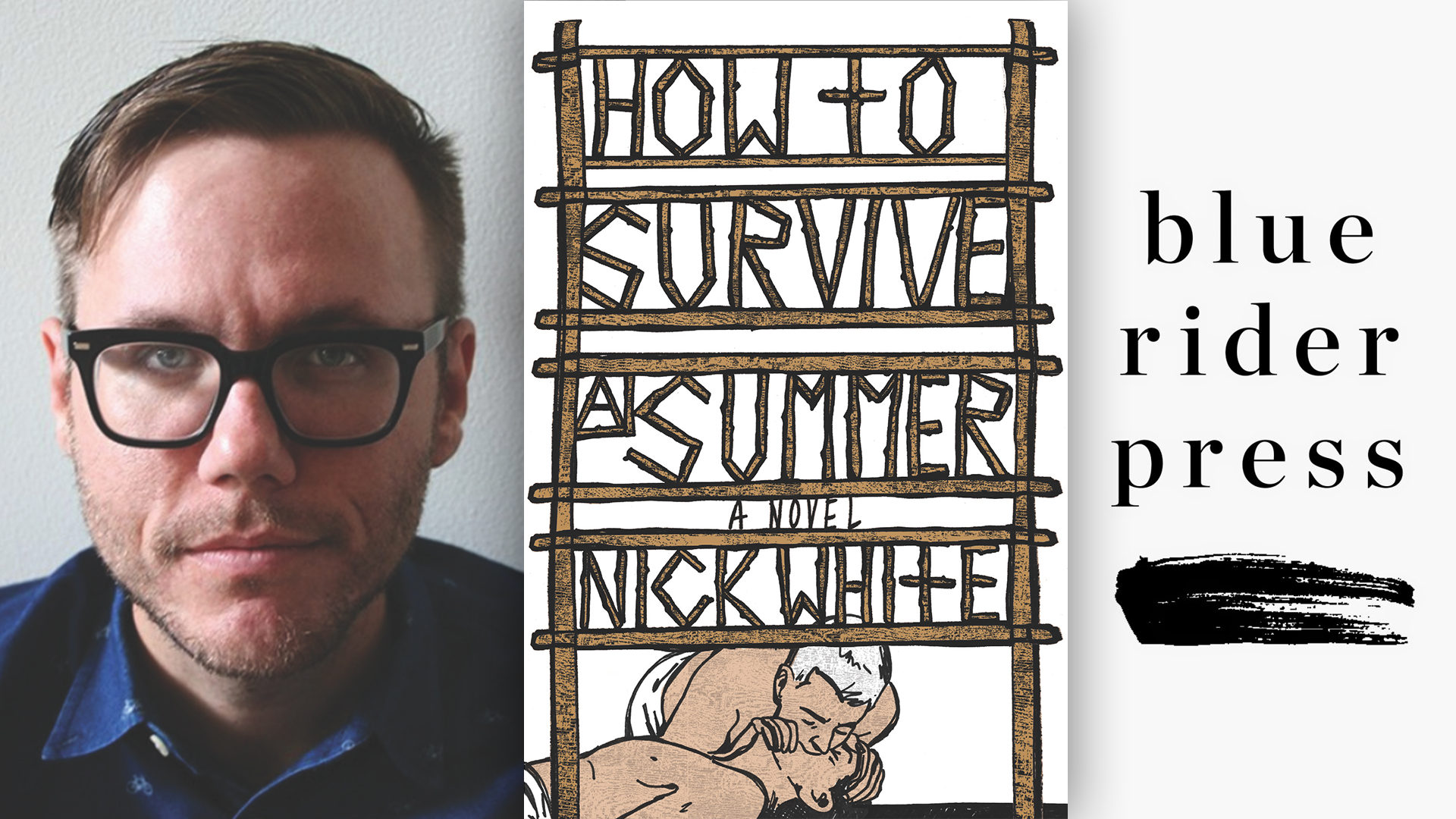 Nick White, the cover of HOW TO SURVIVE A SUMMER and the blue rider press logo; links to news story Nick White's debut novel, 'How to Survive a Summer,' hit shelves June 6