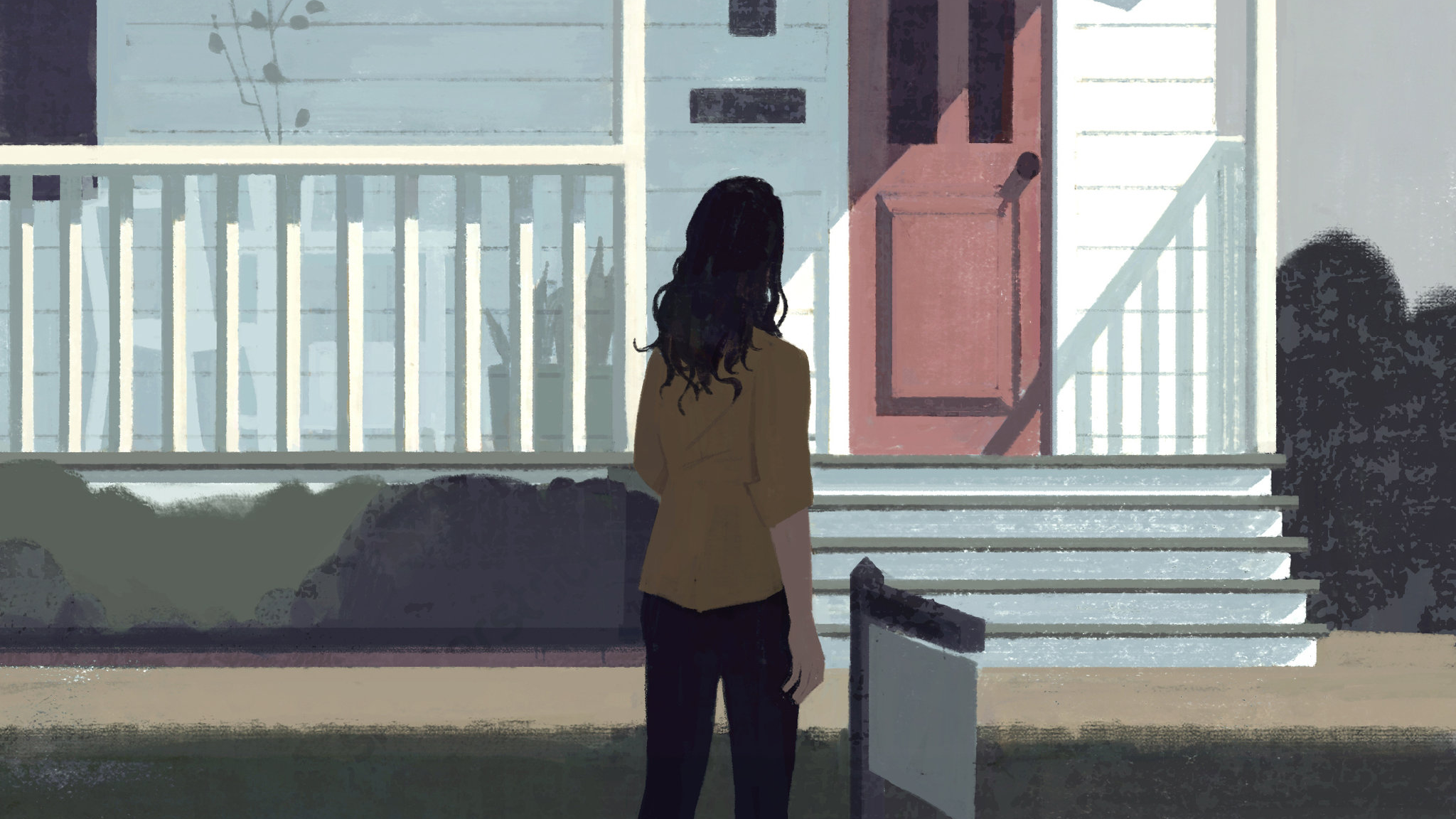 "Illustration by Katherine Lam of a woman approaching a house; links to news story Crucet in the NYT: ""The 30-Something's Guide to Real Estate"""