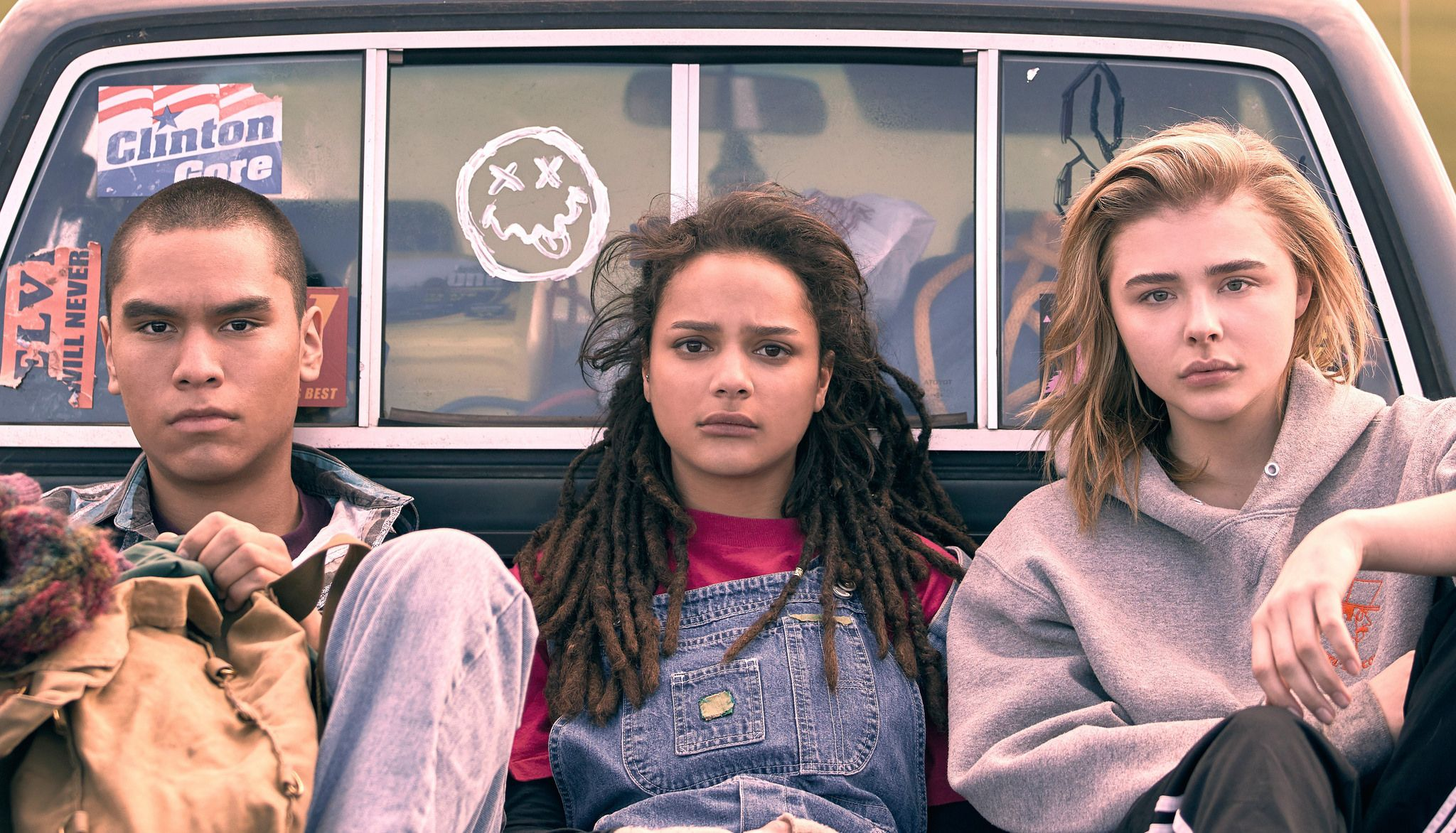 Screenshot from the upcoming film of three teens in the back of a truck
