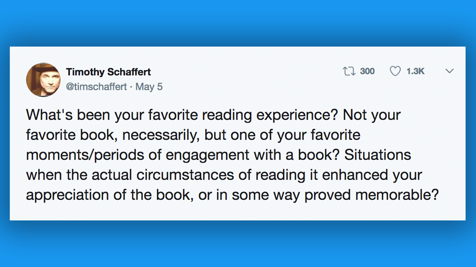 "Timothy Schaffert's viral tweet - text in body of article; links to news story Professor's prompt goes viral, sparks a ""Twitter Moment"""