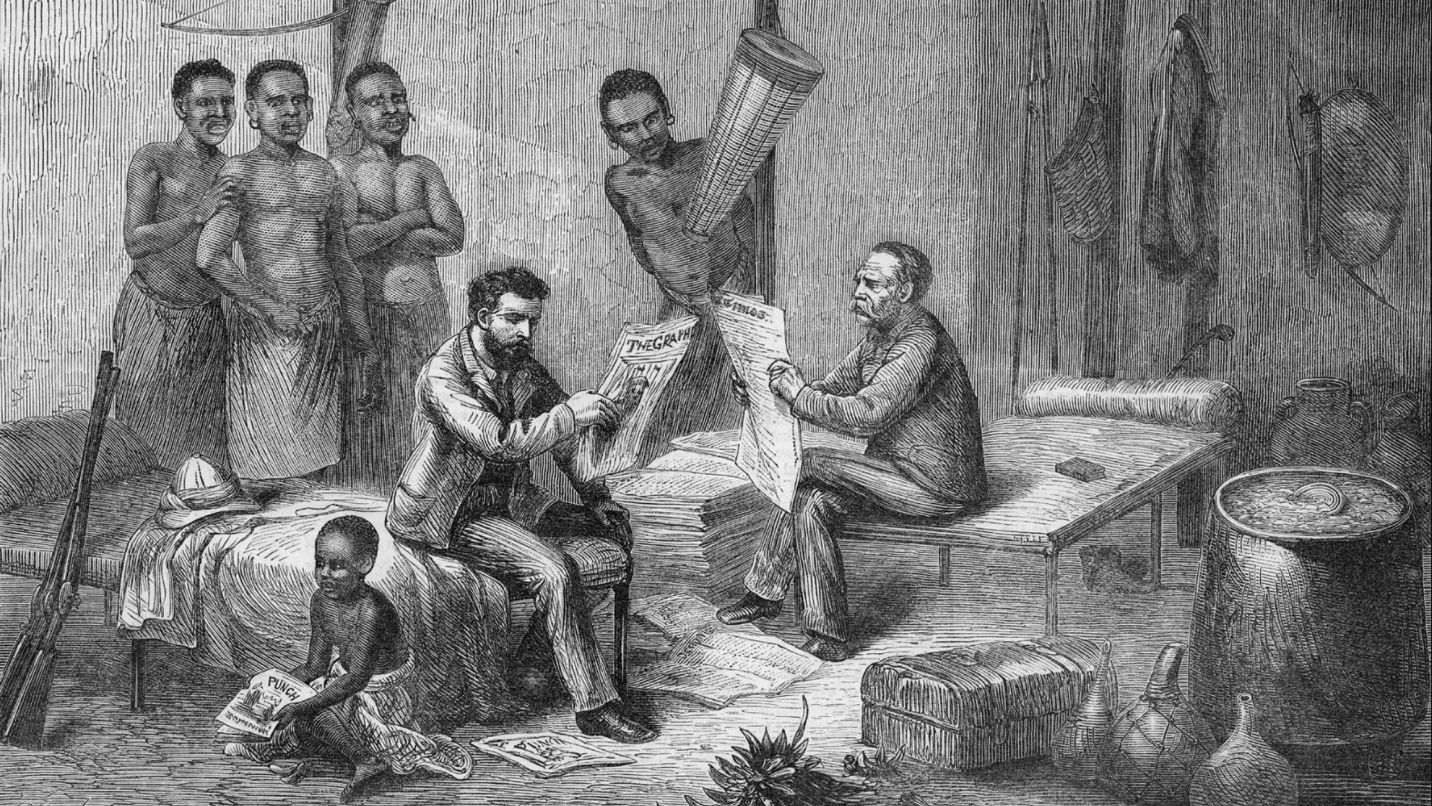 Illustration - David Livingstone and Henry Stanley are depicted reading newspapers during an expedition in central Africa; links to news story