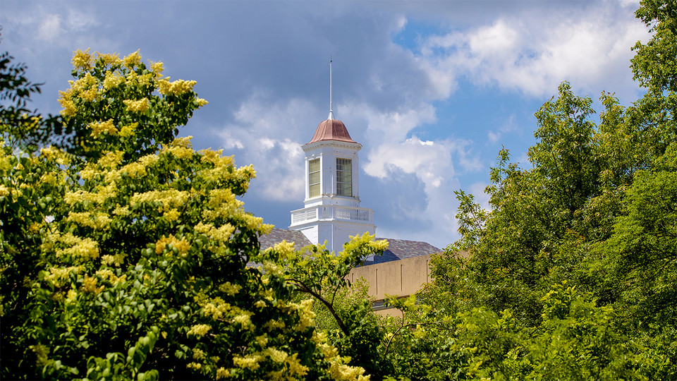 Trees and the Love Library cupola on city campus.; links to news story