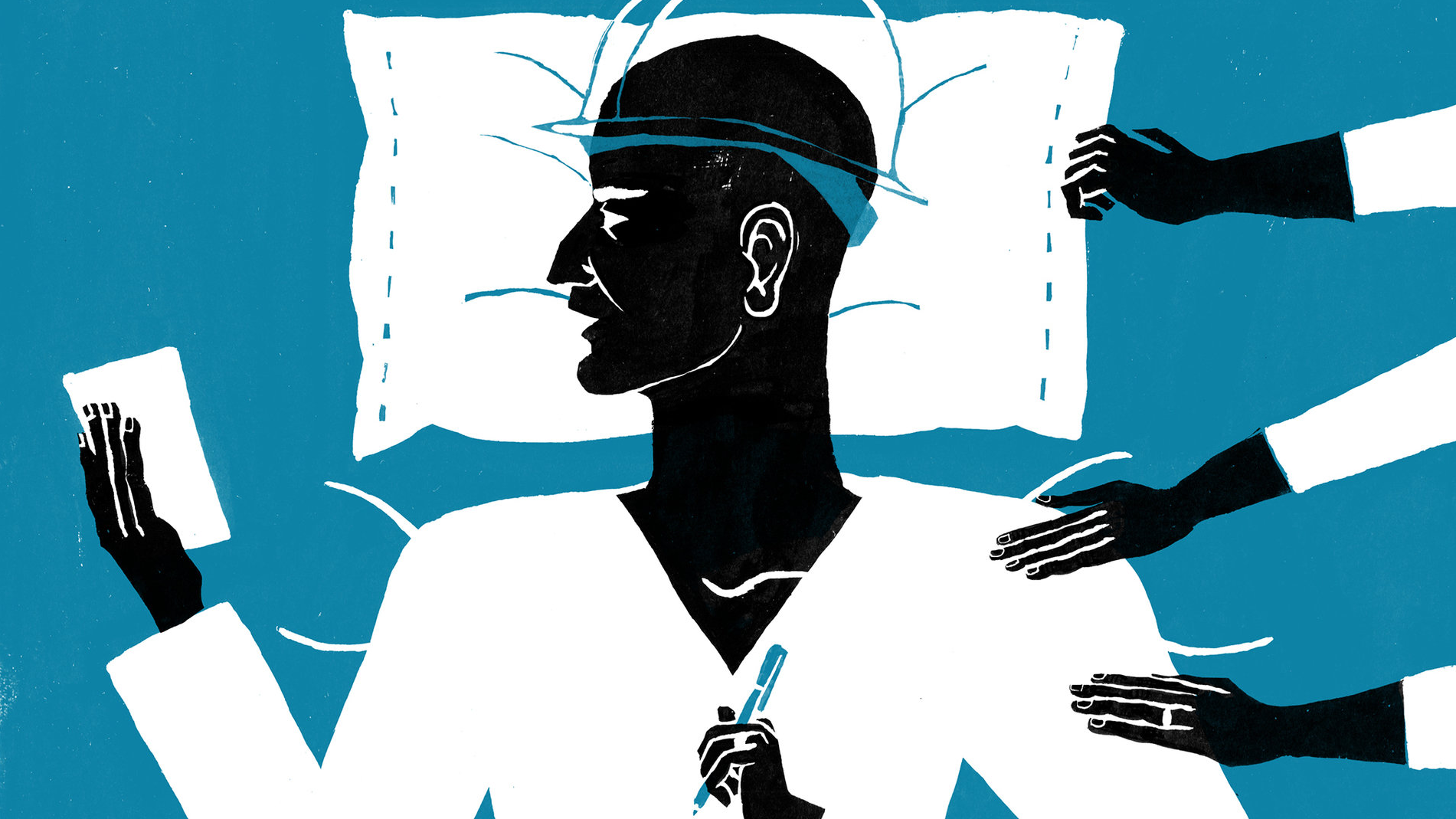 Illustration of a man in a hospital bed with pen and paper