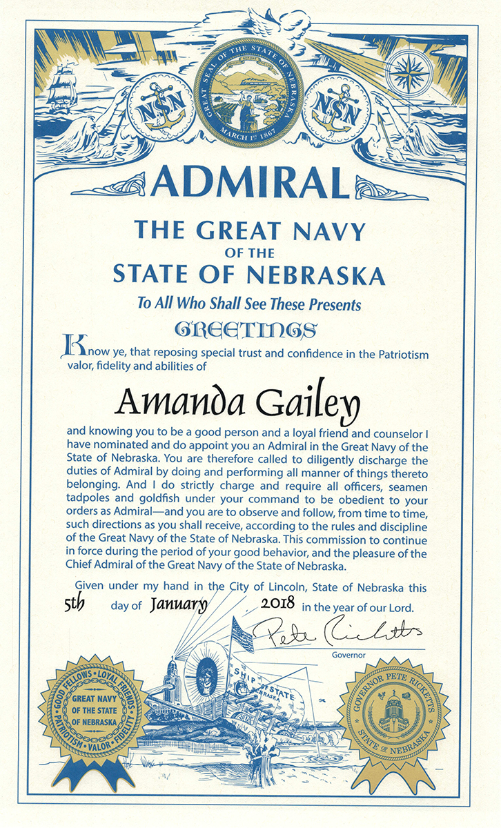 Admiral certificate awarded to Amanda Gailey; full text below
