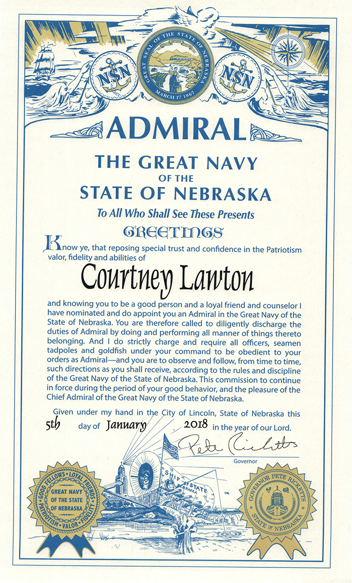 Admiral certificate awarded to Courtney Lawton; full text below