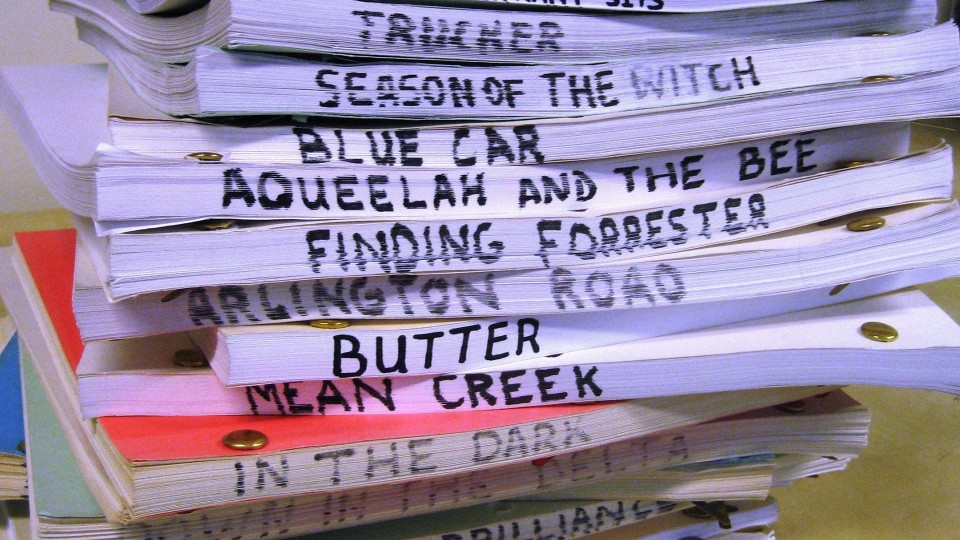 Stack of screenplays with titles showing