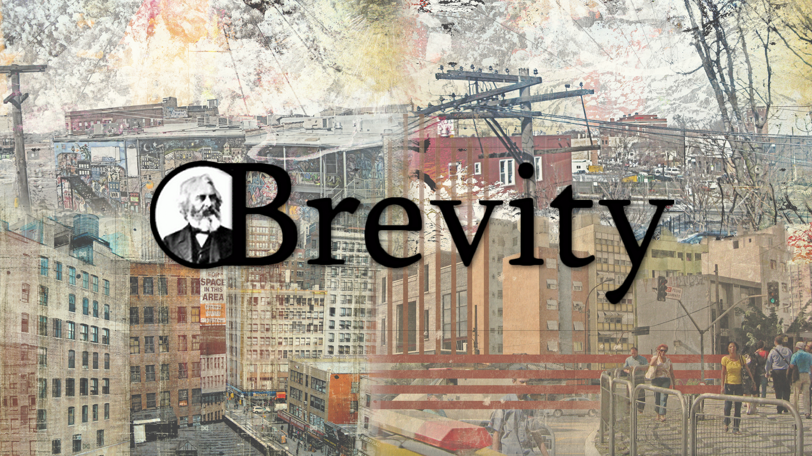 Composite image of urban scenes and art behind the Brevity magazine logo