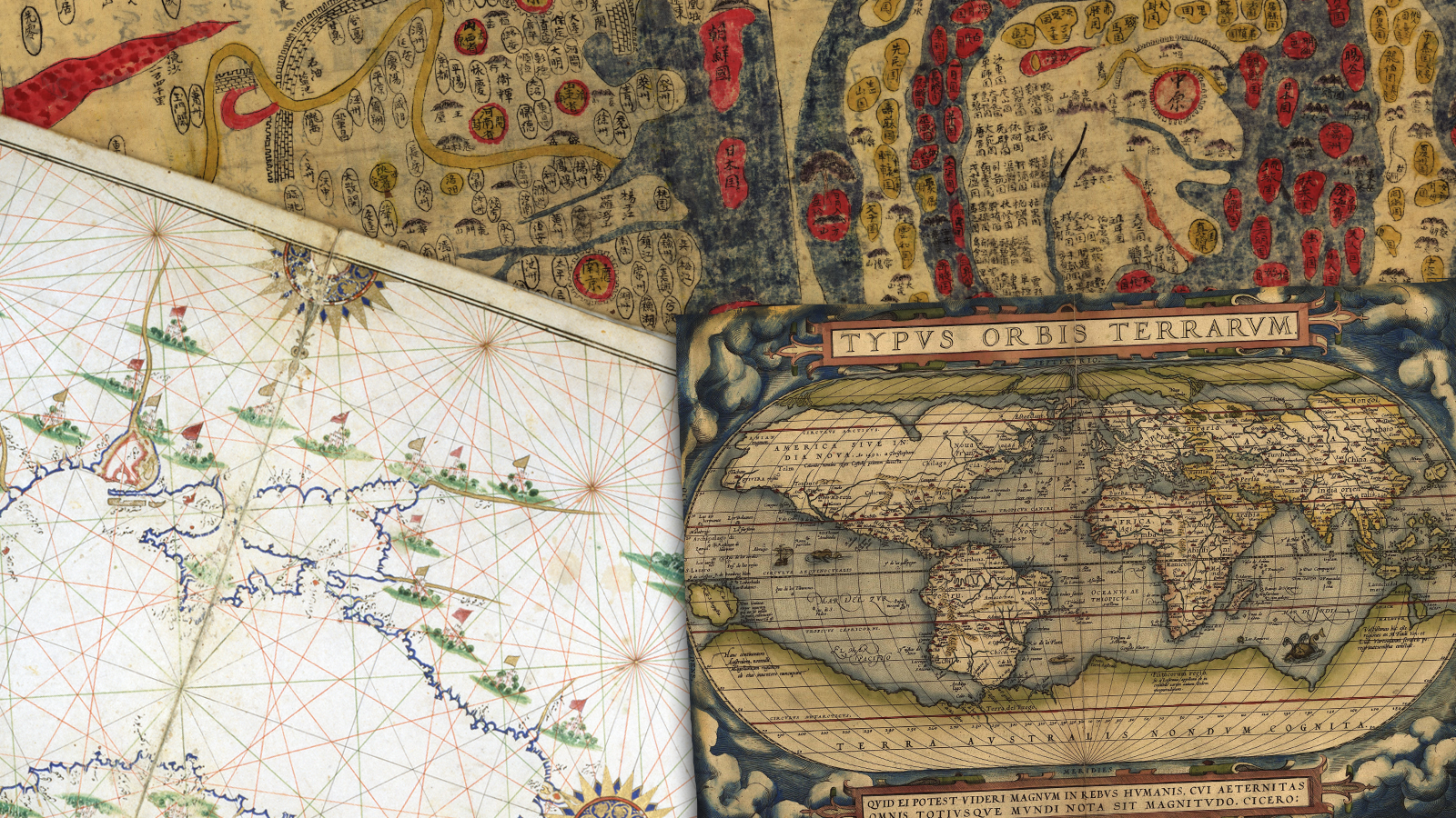 Ancient Chinese, Turkish, and Flemish maps
