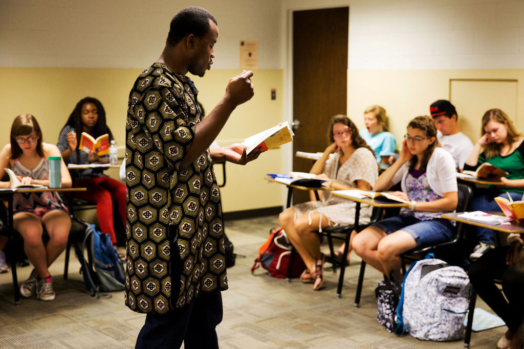 First-year creative writing teacher Chigozie Obioma leads his African literature class at the University of Nebraska-Lincoln; links to news story