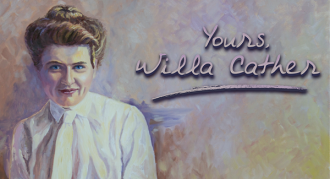 Watercolor painting of Willa Cather Yours, Willa Cather in cursive text; links to news story
