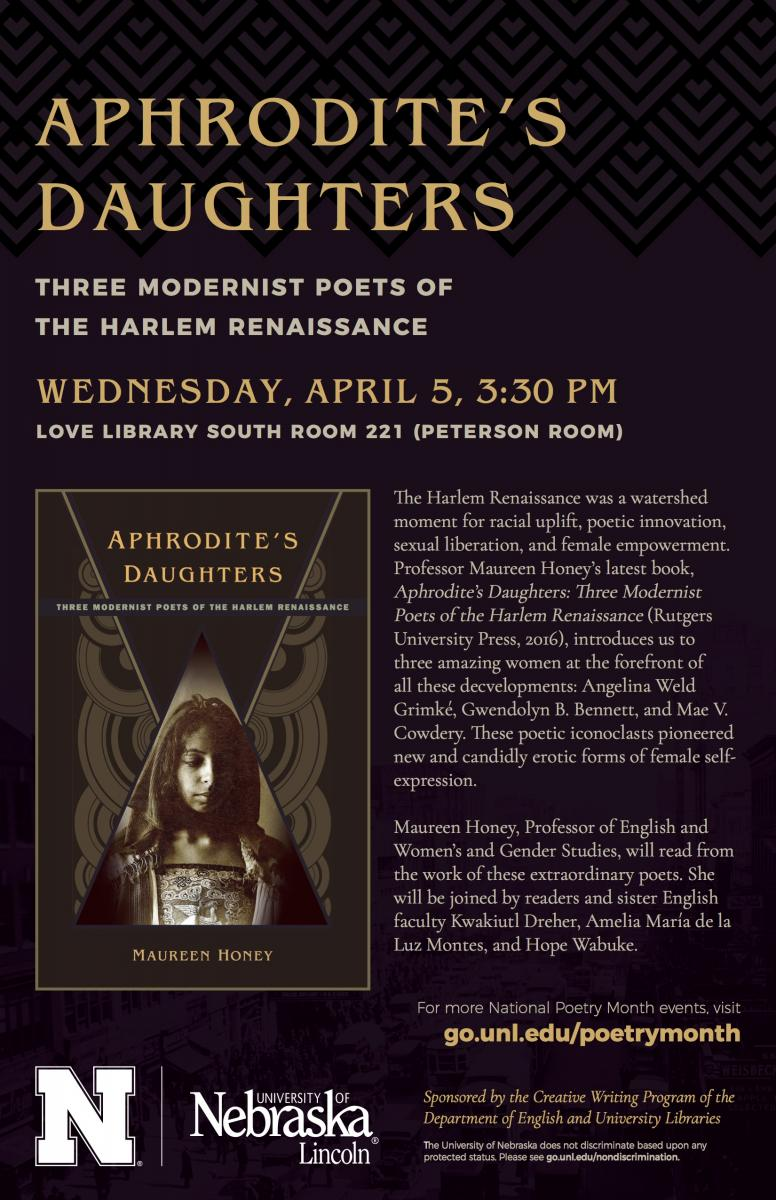 Poster for Aphrodite's Daughers poetry reading - information below