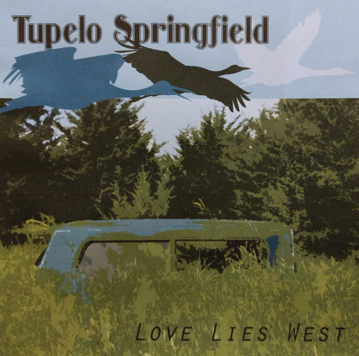 Album art for Tupelo Springfield's new EP featuring silhouettes of geese and an old car