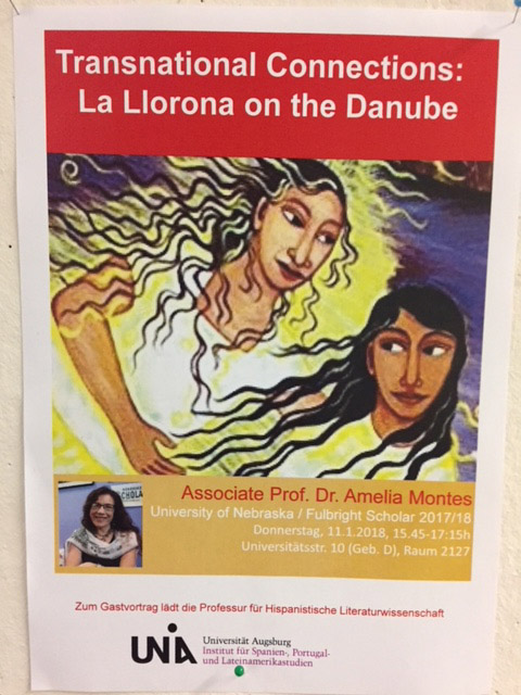 Promotional flyer for Amelia Montes' talk.